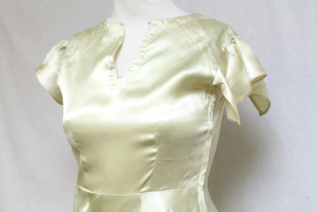 Vintage 1930s Lime Satin Dress - 2