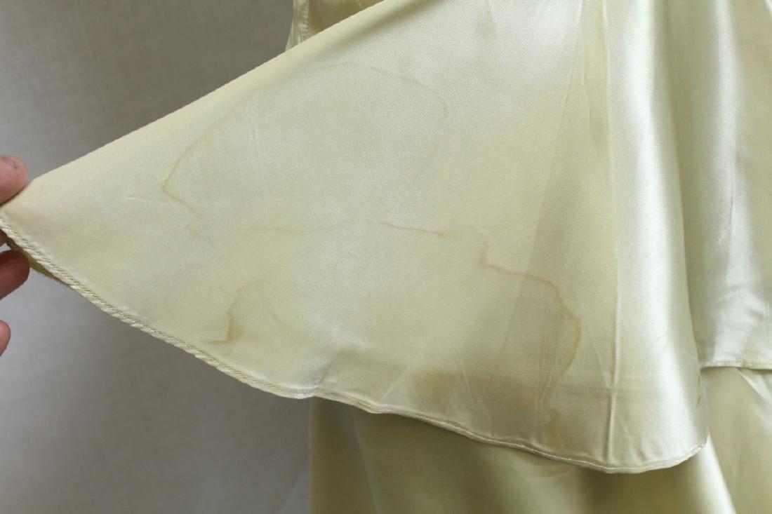 Vintage 1930s Lime Satin Dress - 3