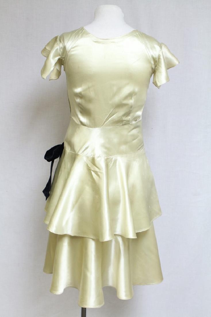 Vintage 1930s Lime Satin Dress - 6