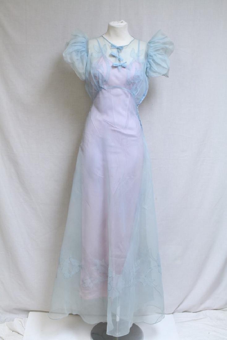Vintage 1930s Sheer Blue Long Dress