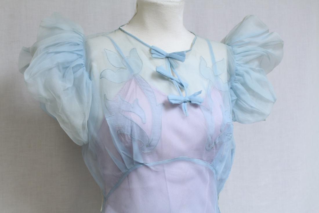 Vintage 1930s Sheer Blue Long Dress - 2