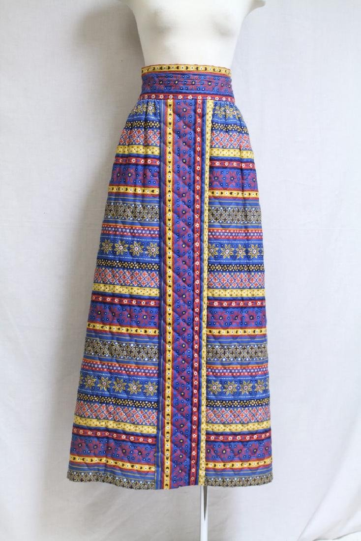 Vintage 1970s Lanz Quilted Maxi Skirt