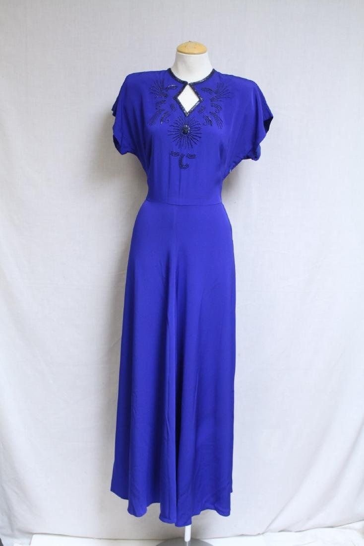Vintage 1940s Royal Blue Rayon Gown