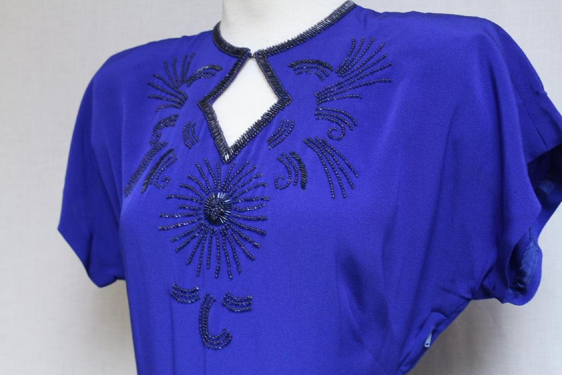 Vintage 1940s Royal Blue Rayon Gown - 2