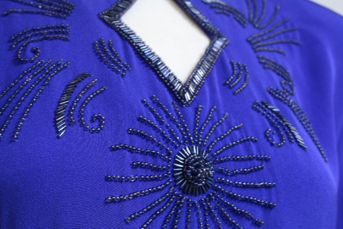 Vintage 1940s Royal Blue Rayon Gown - 3