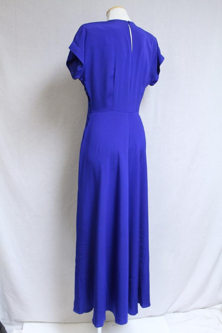 Vintage 1940s Royal Blue Rayon Gown - 4