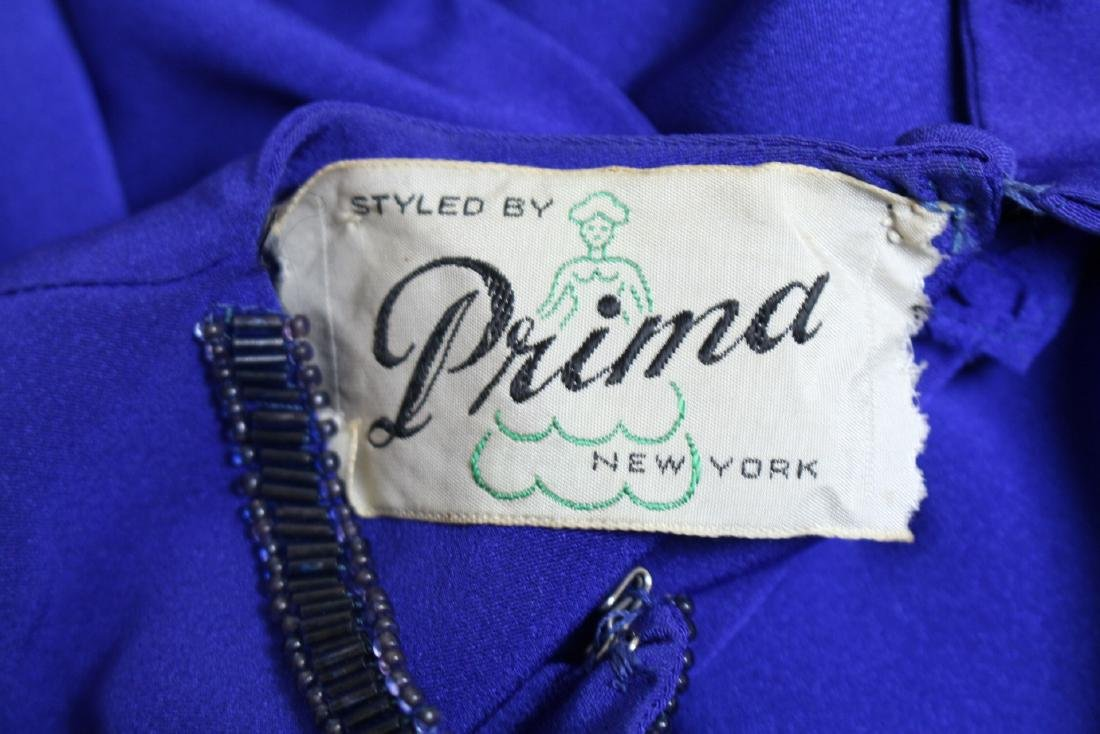 Vintage 1940s Royal Blue Rayon Gown - 6