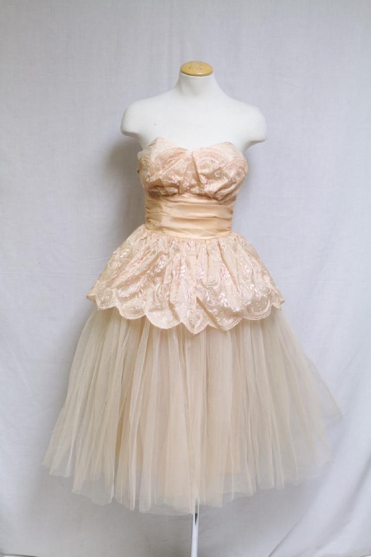 Vintage 1950s Pale Peach Party Dress
