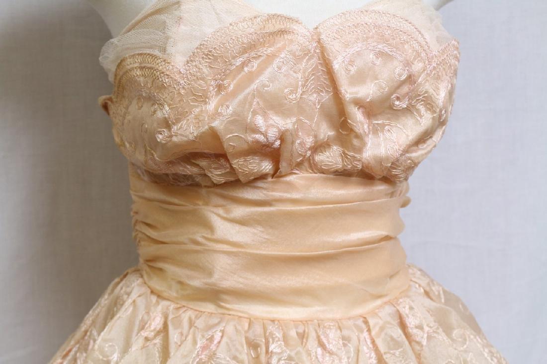 Vintage 1950s Pale Peach Party Dress - 2