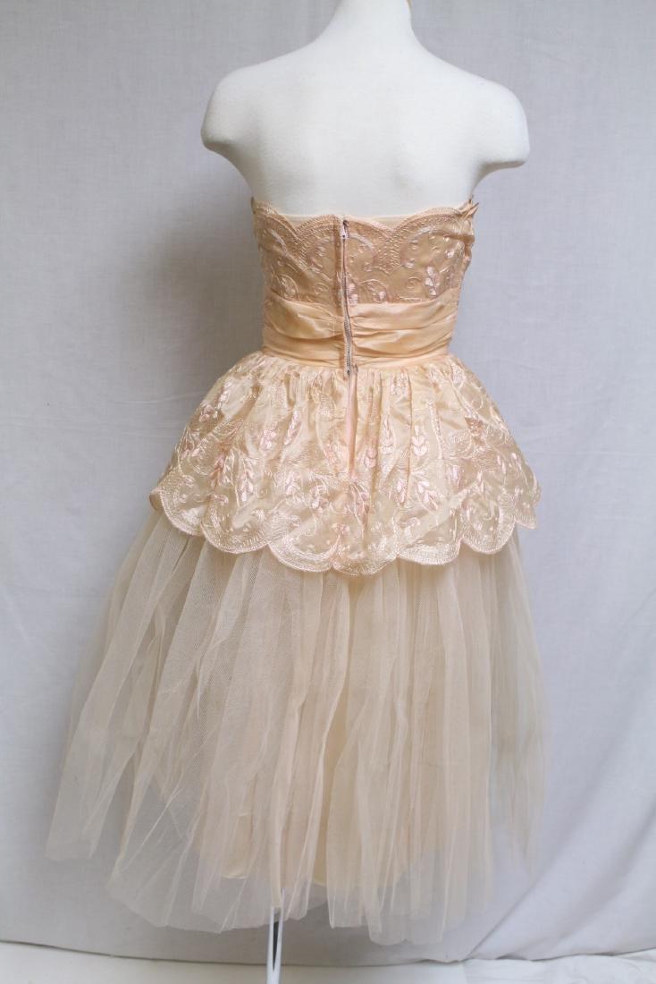 Vintage 1950s Pale Peach Party Dress - 5