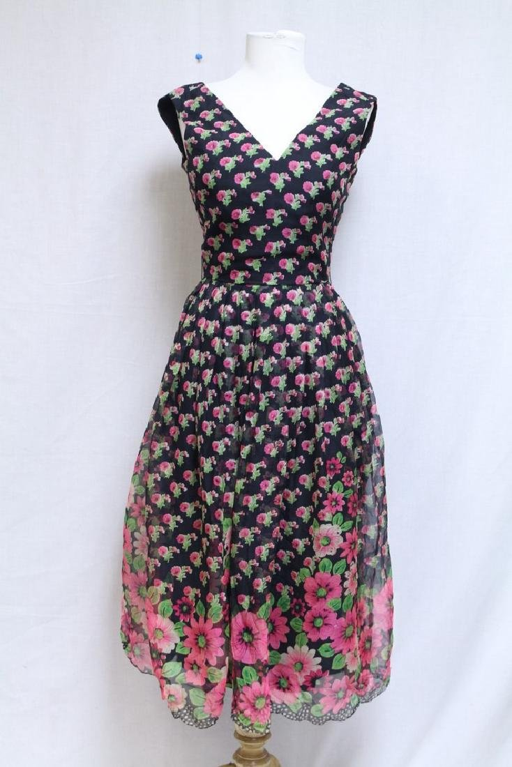 Vintage 1960s Black & Pink Silk Dress