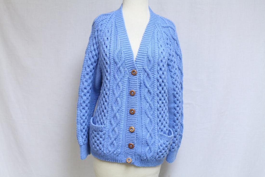 Vintage 1970s Blue Wool Cable knit Cardigan
