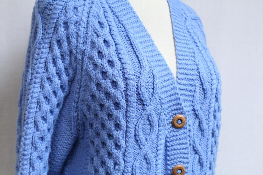 Vintage 1970s Blue Wool Cable knit Cardigan - 2