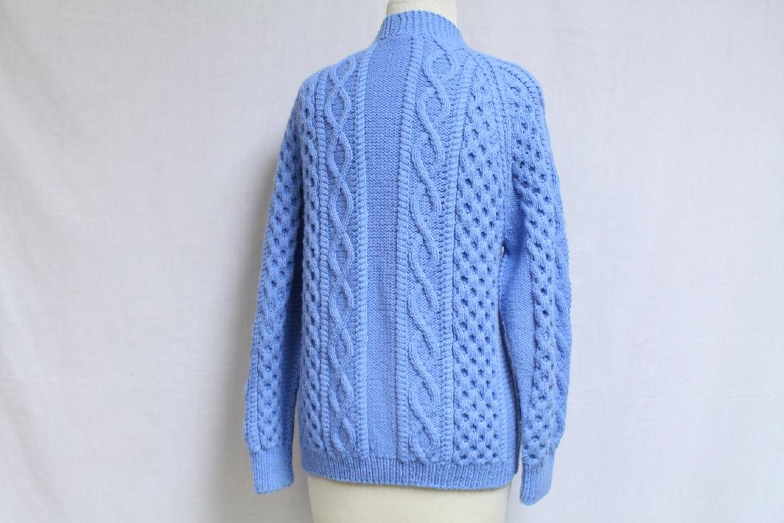 Vintage 1970s Blue Wool Cable knit Cardigan - 3
