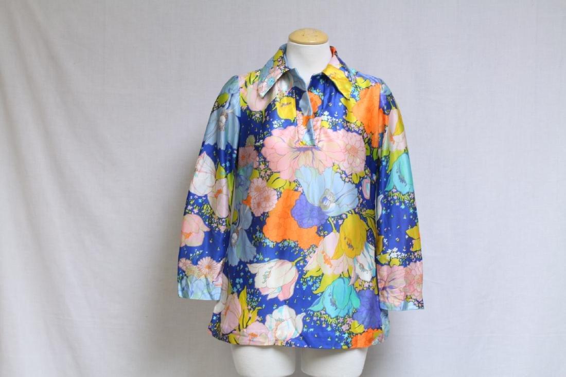 Vintage 1970s Bright Floral Blouse