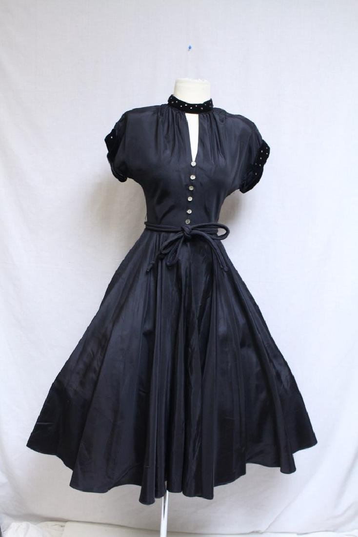 Vintage 1950s Black Taffeta Party Dress
