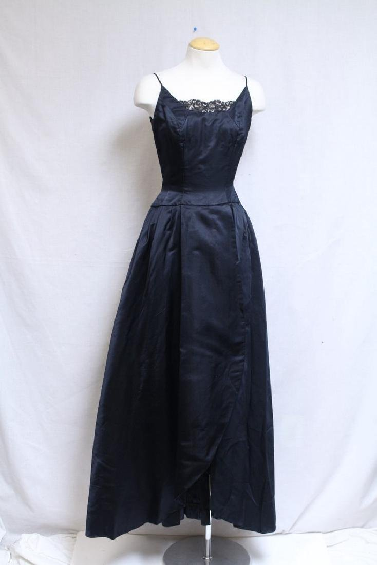 Vintage 1950s Backless Silk Satin Ball Gown