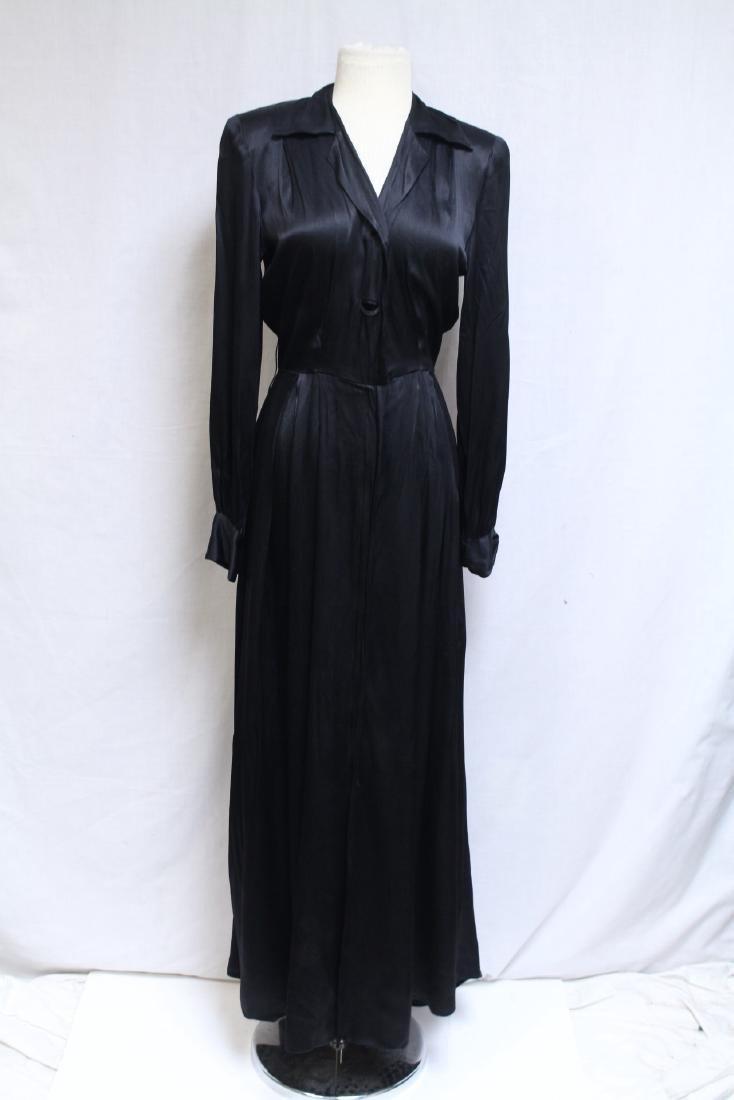 Vintage 1940s Black Satin Dressing Gown