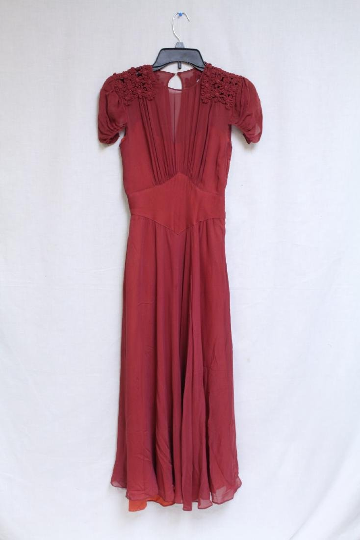 Vintage 1940s Maroon Chiffon Gown