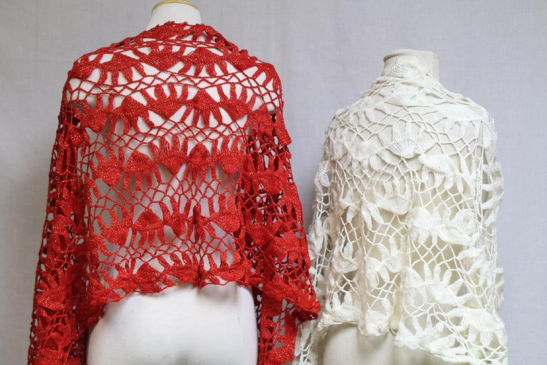 Vintage 1970s Lot of 2 Crochet Shawls