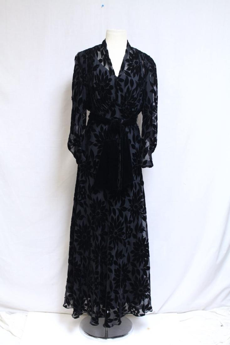 Vintage 1930s Black Devore Velvet Gown