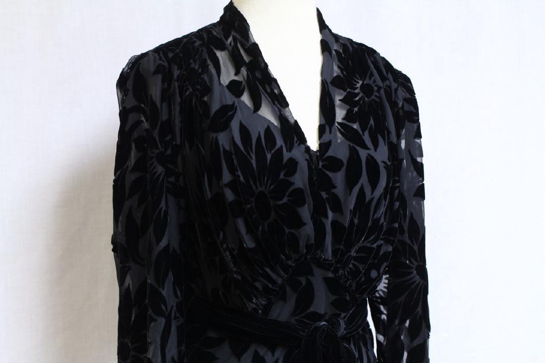 Vintage 1930s Black Devore Velvet Gown - 2