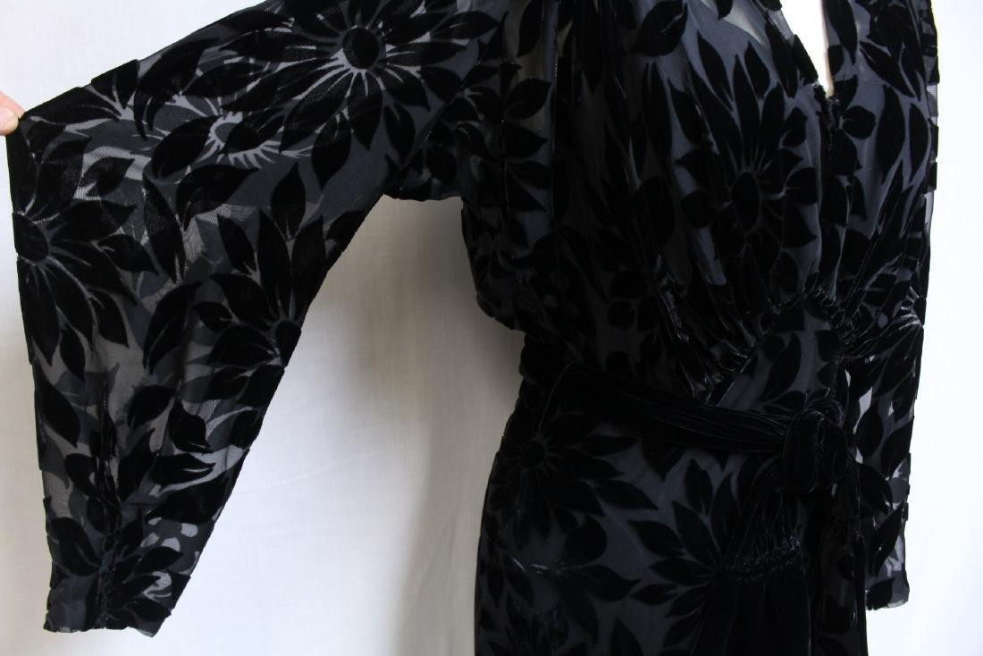 Vintage 1930s Black Devore Velvet Gown - 3