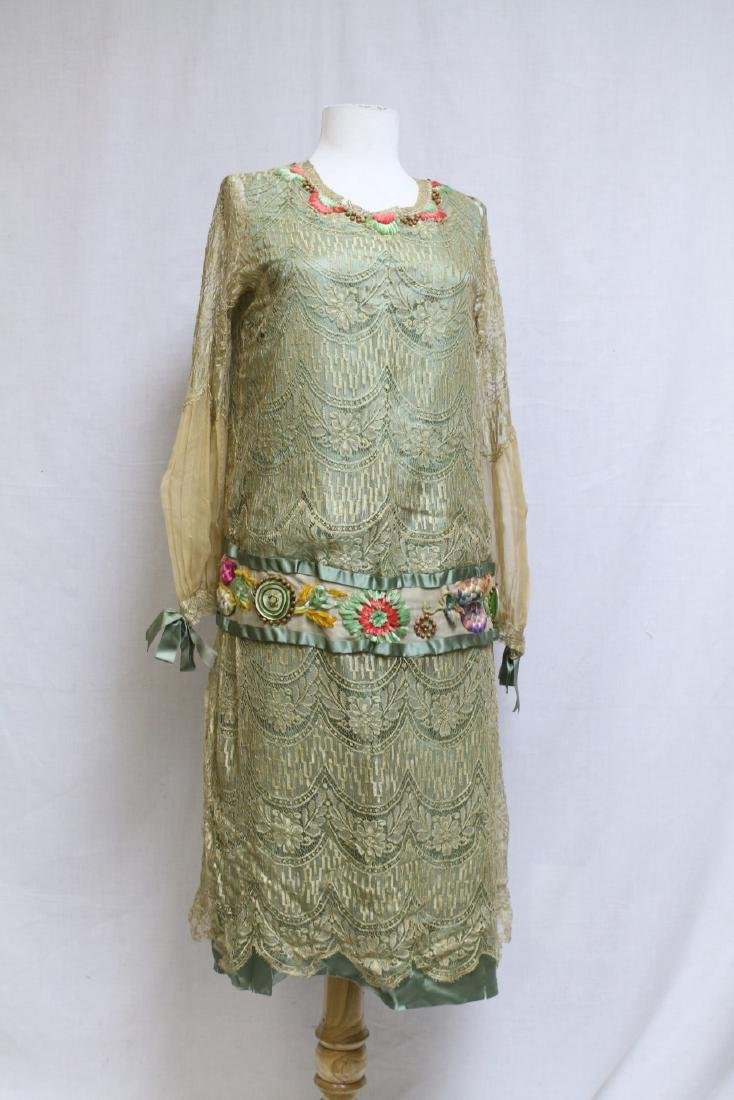 Vintage 1920s Embroidered Lace & Silk Dress