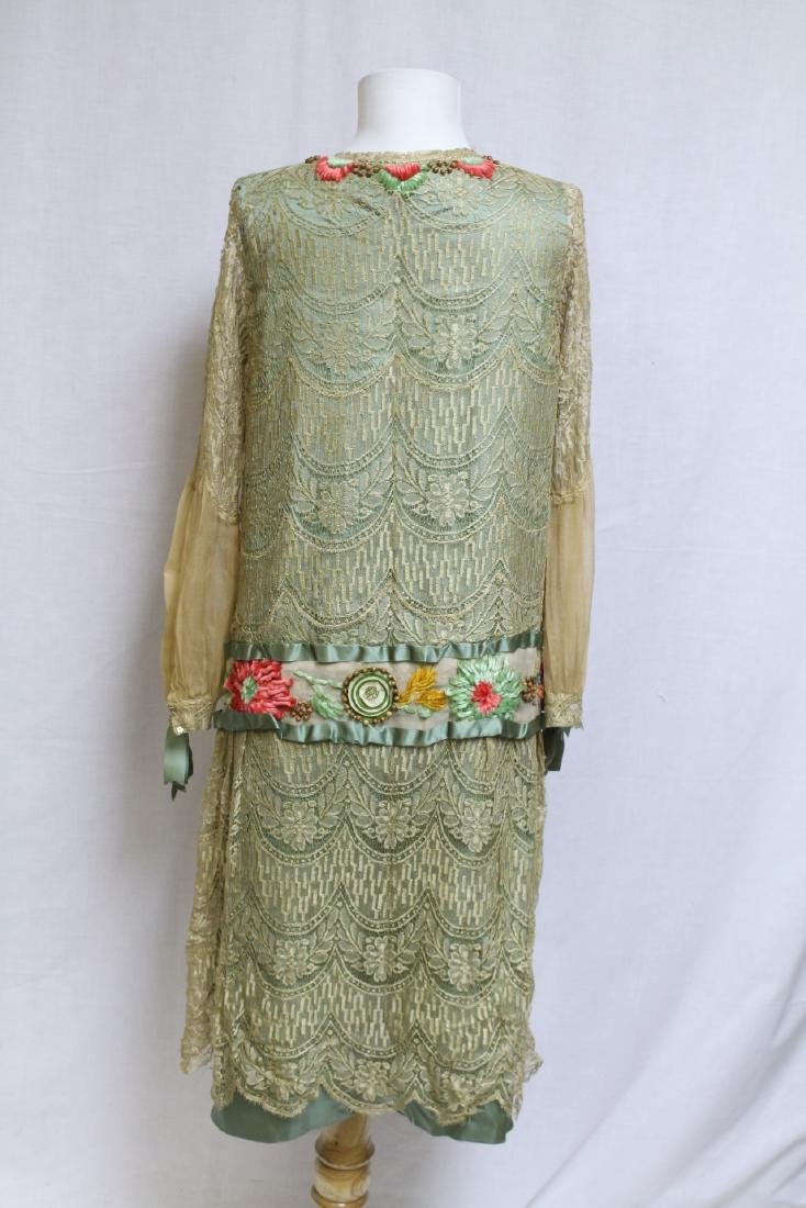 Vintage 1920s Embroidered Lace & Silk Dress - 4