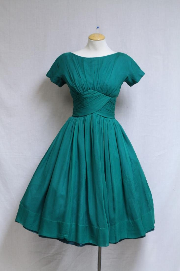 Vintage 1960s Gigi Young Green Chiffon Dress