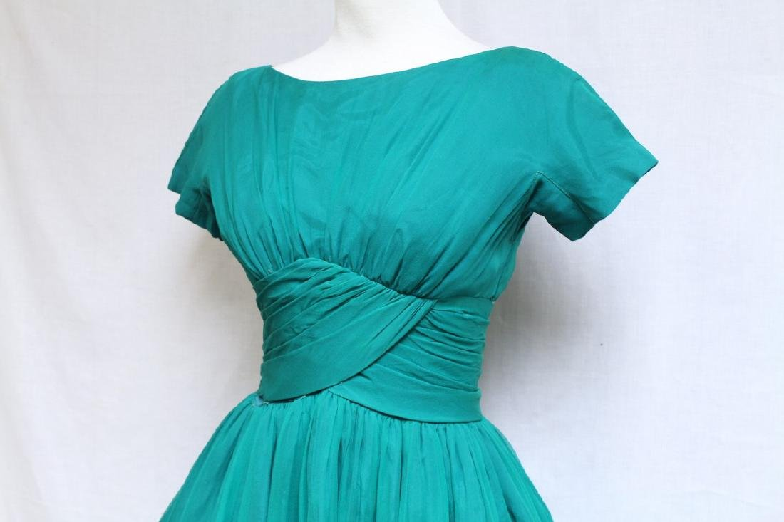 Vintage 1960s Gigi Young Green Chiffon Dress - 2
