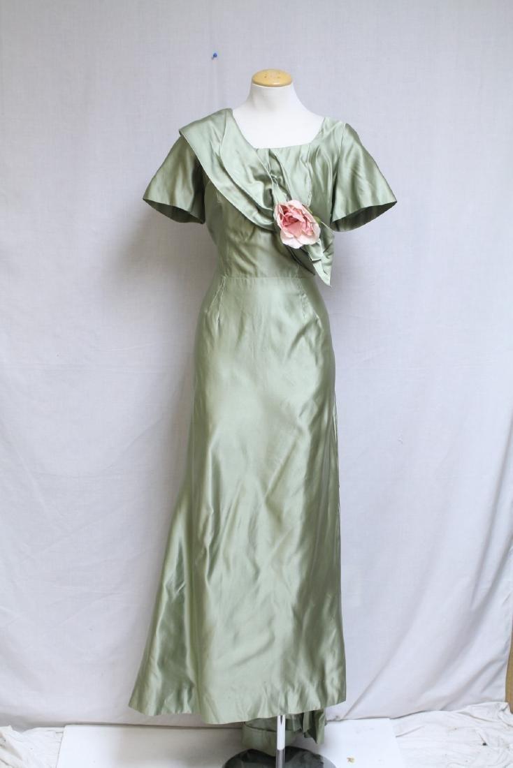 Vintage 1940s Green Silk Satin Gown