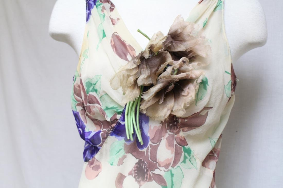 Vintage 1930s Silk Chiffon Floral Dress with Cape - 10