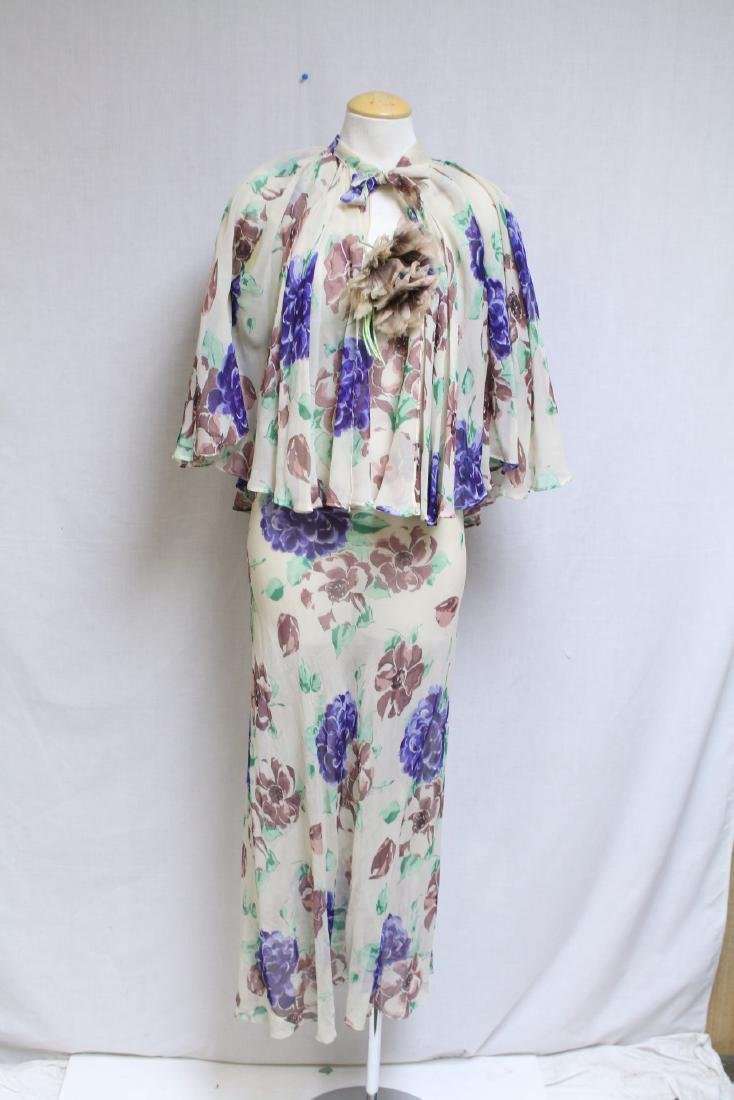 Vintage 1930s Silk Chiffon Floral Dress with Cape