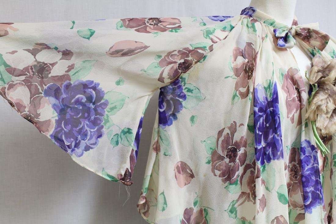 Vintage 1930s Silk Chiffon Floral Dress with Cape - 2