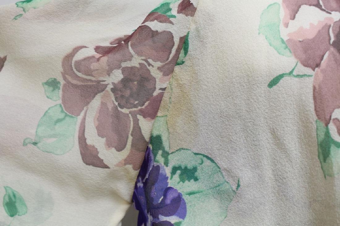 Vintage 1930s Silk Chiffon Floral Dress with Cape - 3