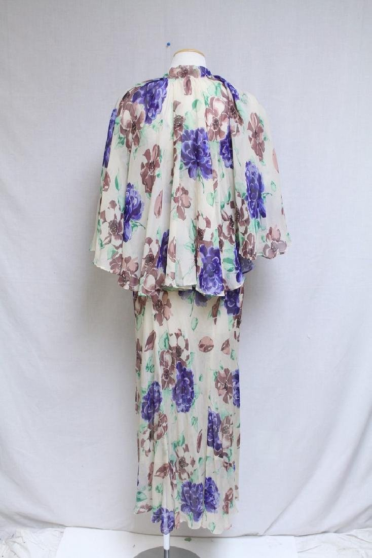 Vintage 1930s Silk Chiffon Floral Dress with Cape - 4