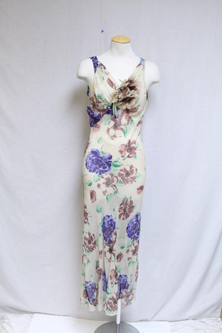 Vintage 1930s Silk Chiffon Floral Dress with Cape - 5