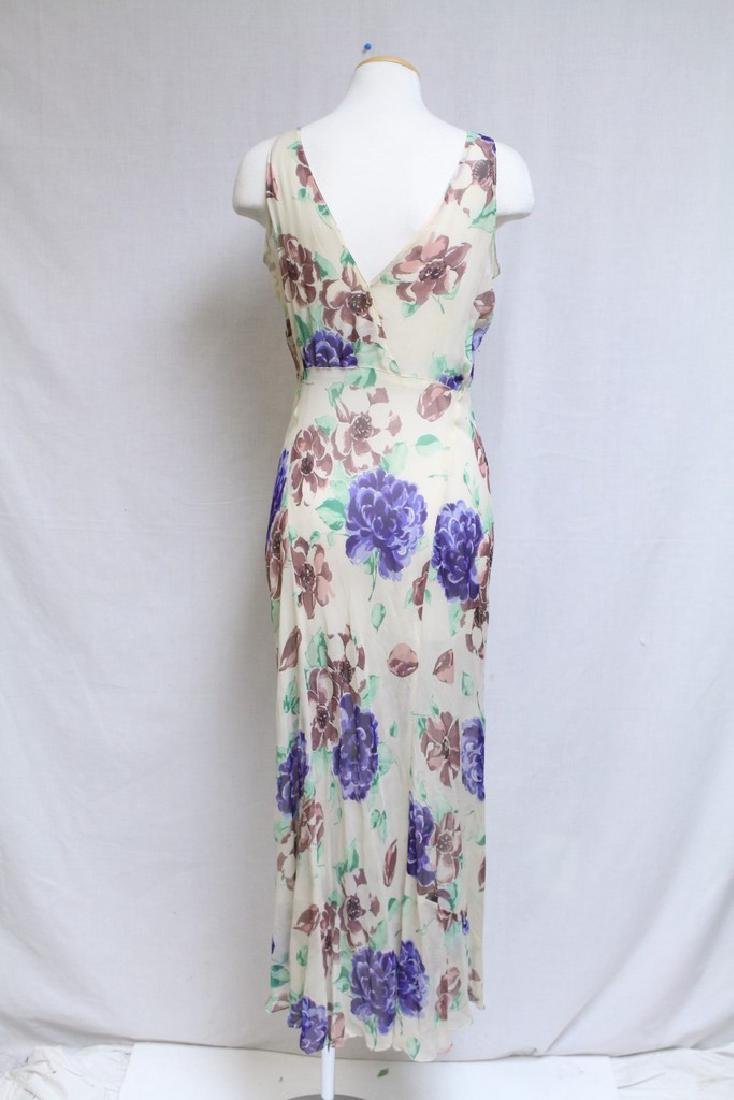 Vintage 1930s Silk Chiffon Floral Dress with Cape - 9