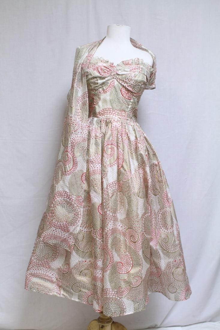 Vintage 1950s Printed Silk Strapless Dress