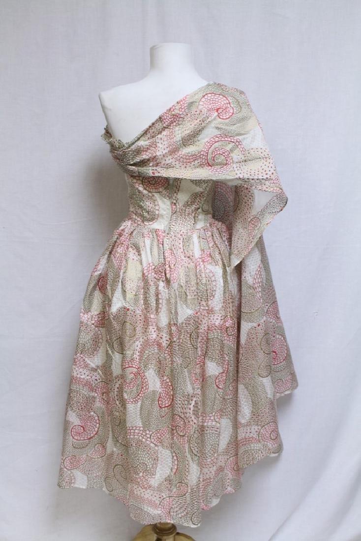 Vintage 1950s Printed Silk Strapless Dress - 3