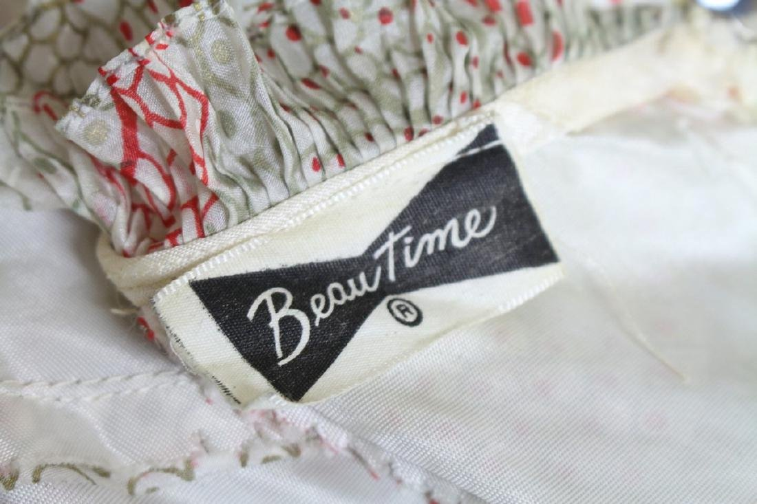 Vintage 1950s Printed Silk Strapless Dress - 4