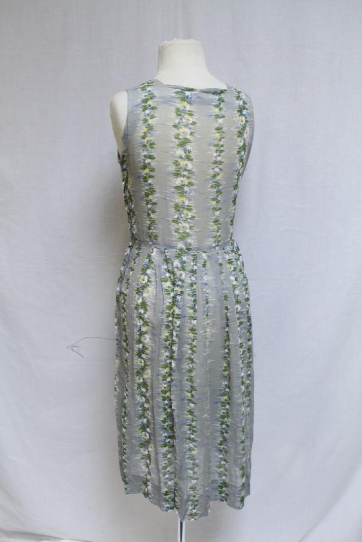 Vintage 1950s Grey Floral Dress - 3