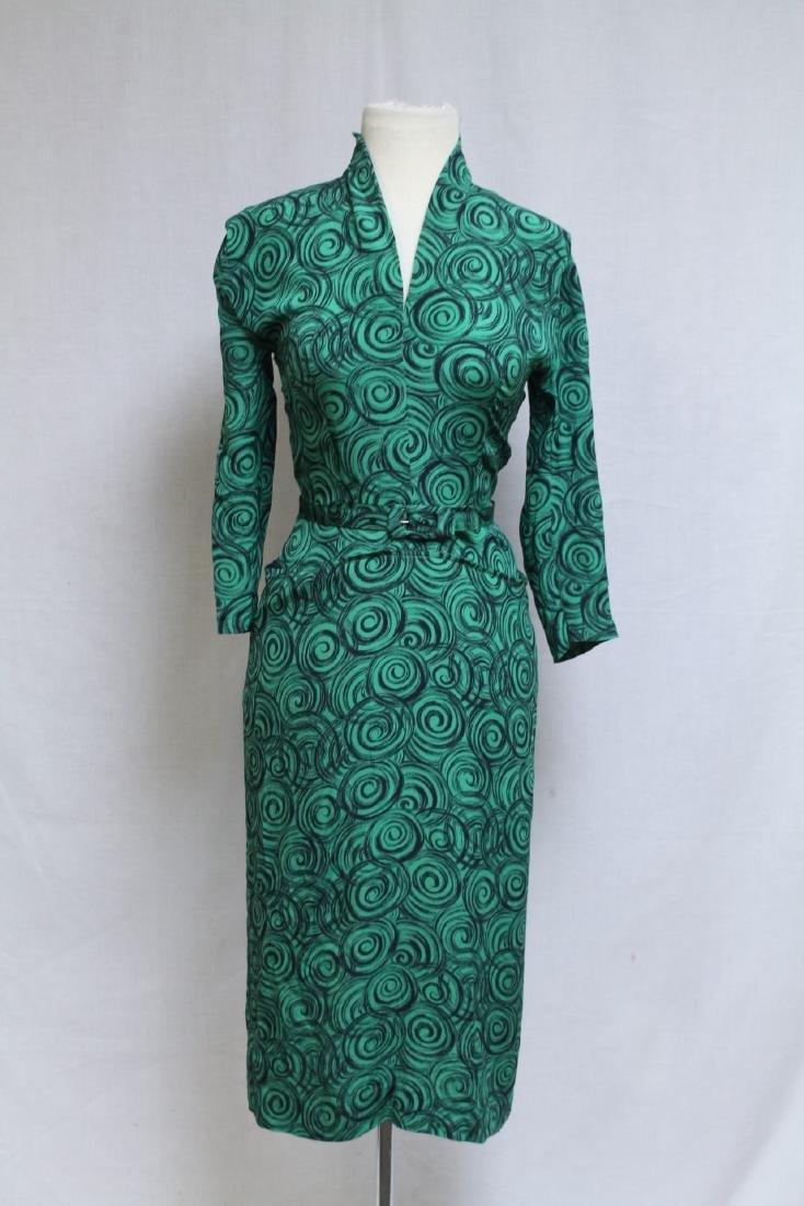 Vintage 1950s Green & Black Silk Dress