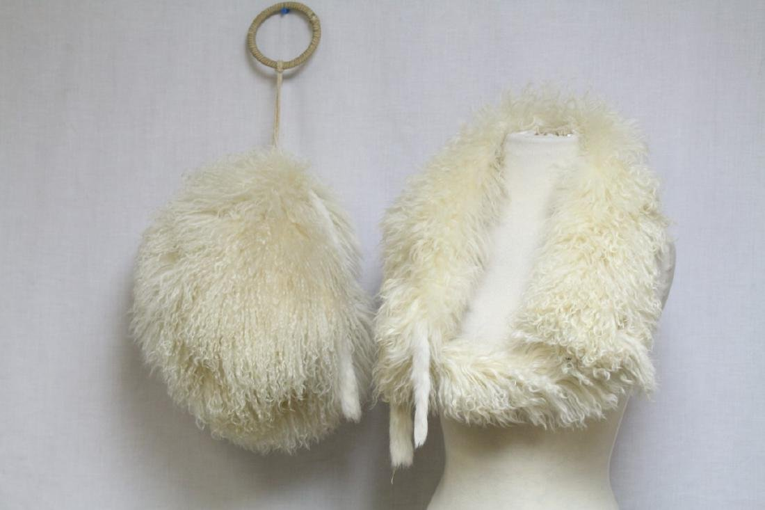 Vintage 1930s Tibetan Lamb Fur Muff & Stole