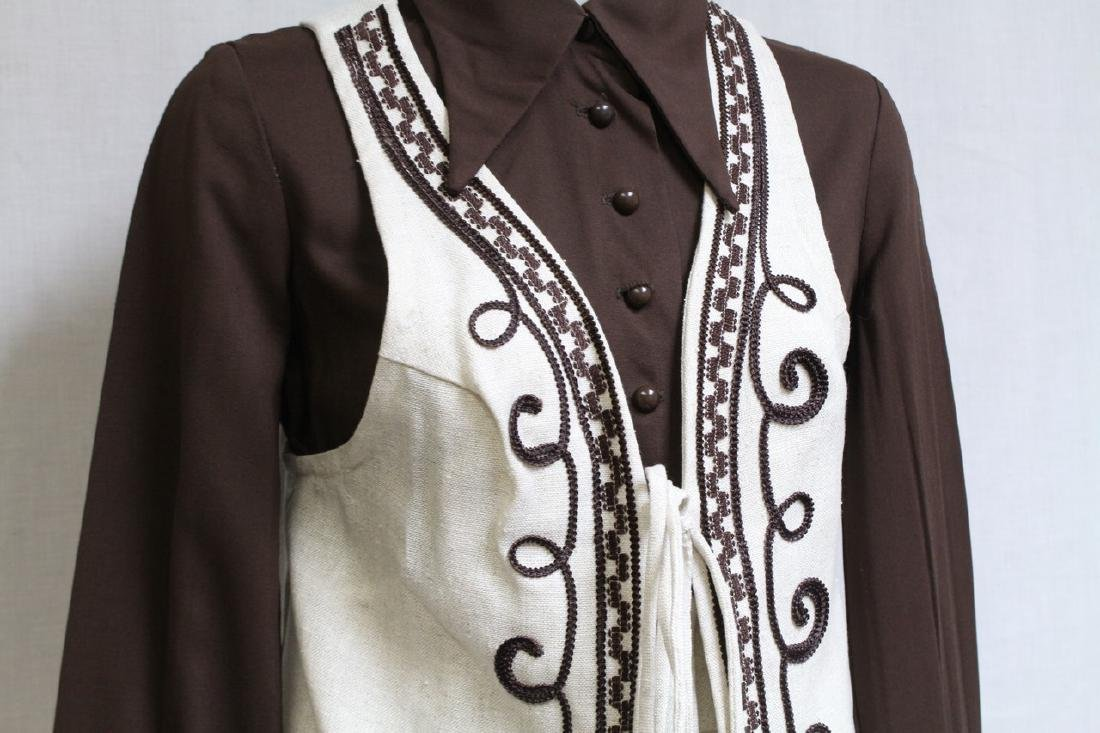 Vintage 1970s Brown & Beige Skirt with Vest - 2