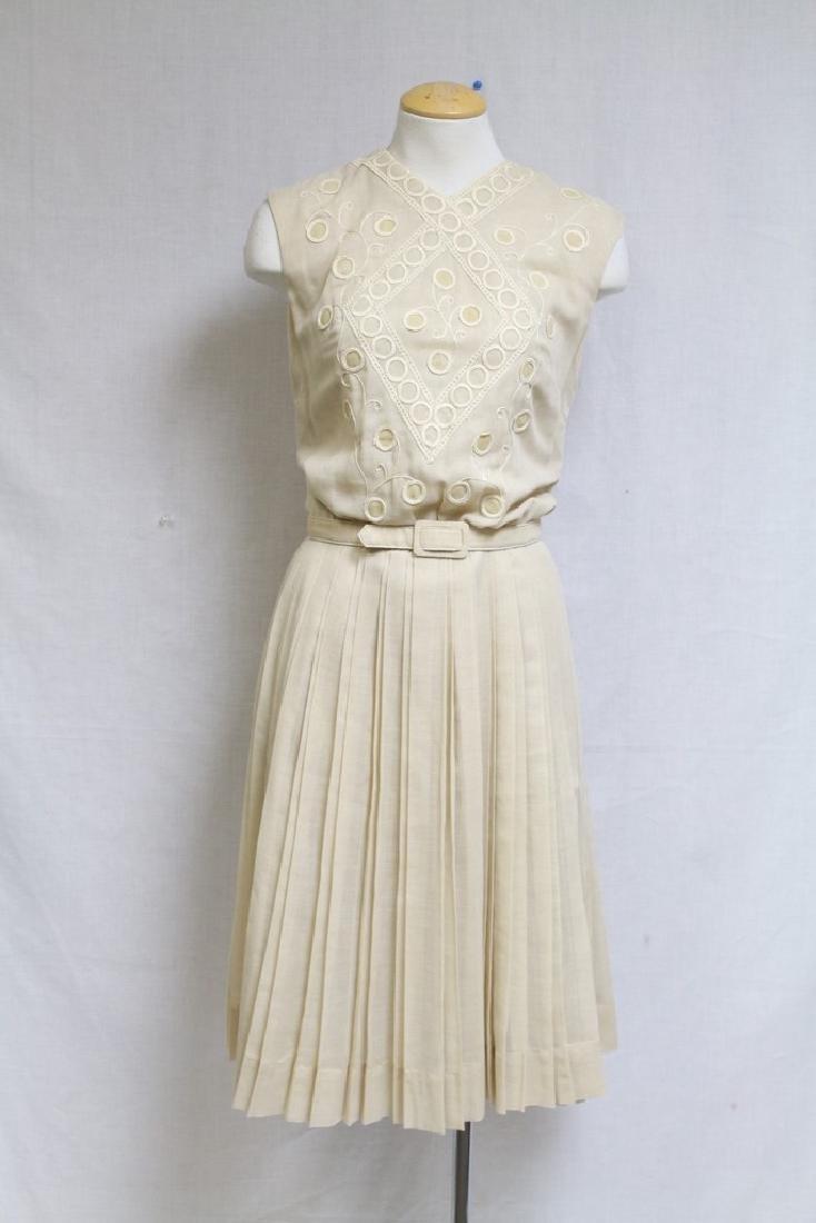 Vintage 1960s Embroidered Beige Dress
