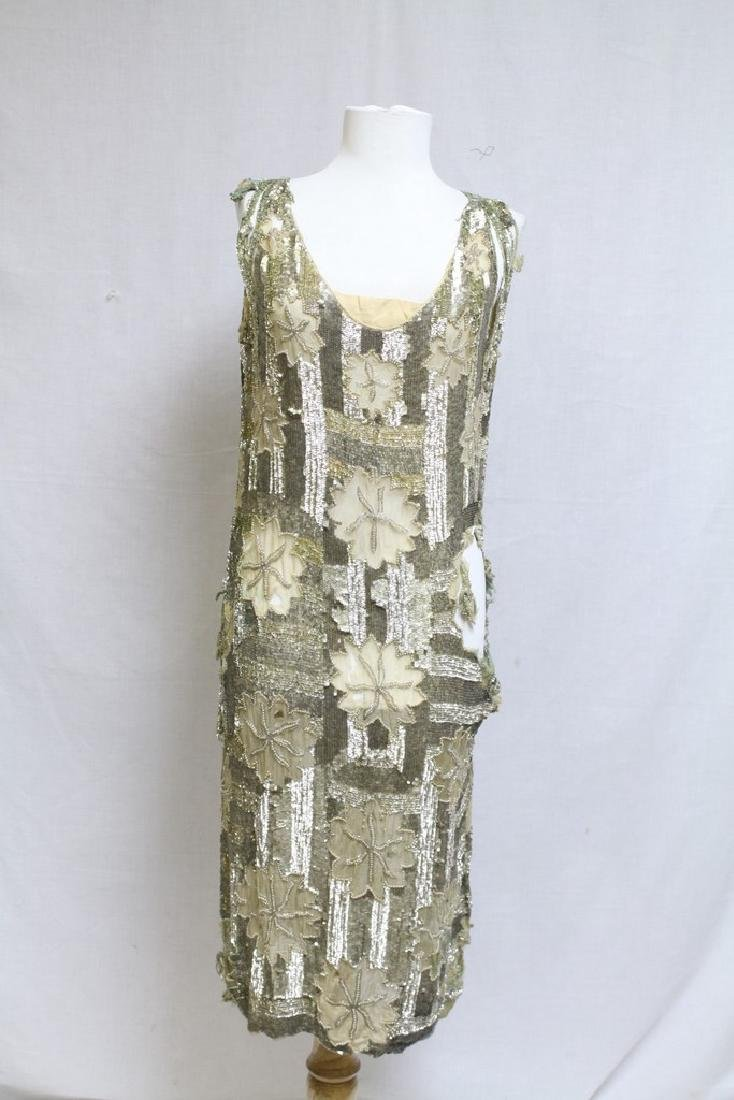 Vintage 1920s Silver Sequined Dress