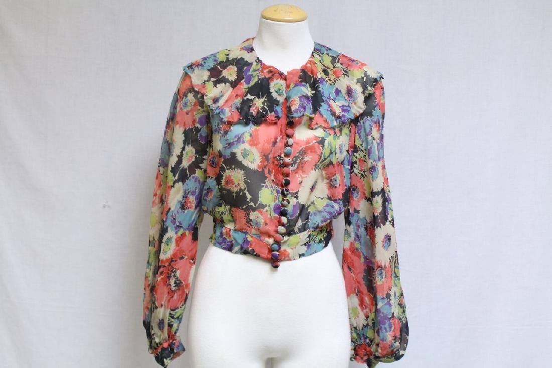 Vintage 1930s Floral Chiffon Blouse