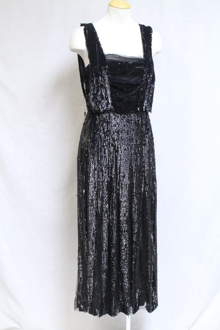 Vintage 1900s Black Sequined Gown